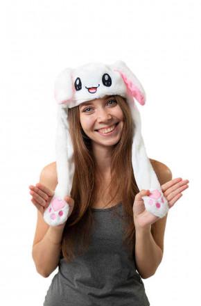 Шапка кигуруми с подвижными ушками и подсветкой Кролик белый